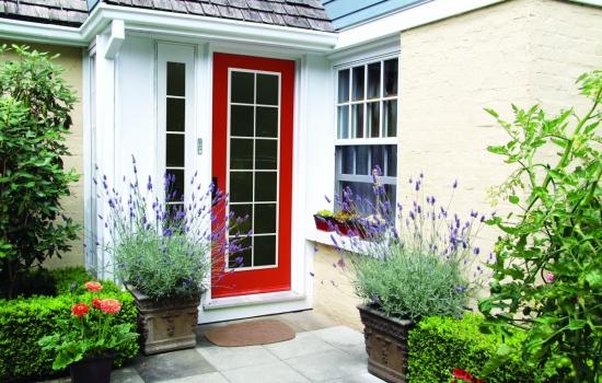 Charming red front door